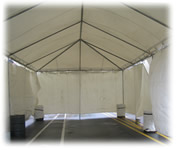 Frame Tent with Barrel weights and sides